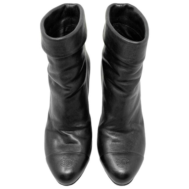 Item - Black Cc Logo Cap Toe Fold-over Leather Ankle Boots/Booties Size US 6.5 Regular (M, B)