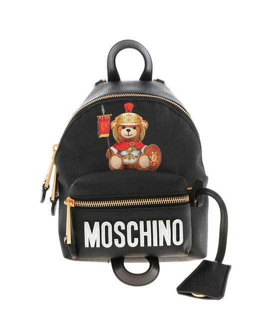 Item - Roman Couture Women's Gladiator Teddy Bear Mini Black Faux Leather Backpack