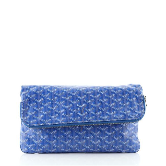 Item - Saint Marie Blue Coated Canvas Clutch