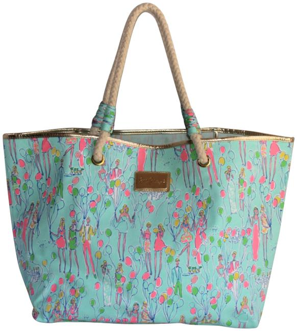 "Item - ""Shoreline Balloon Party"" Teal Canvas/Cotton Tote"