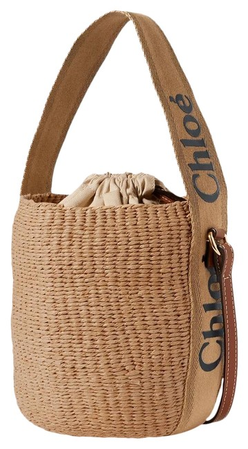 Item - Woody Small Leather-trimmed Striped Raffia Tote Cross Body Bag