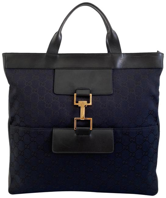 Gucci Gg Monogram Leather Navy Canvas Tote Gucci Gg Monogram Leather Navy Canvas Tote Image 1