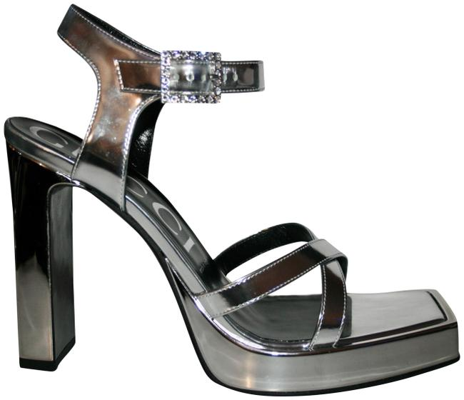 Item - Silver Metallic Square Pumps Size US 8 Regular (M, B)