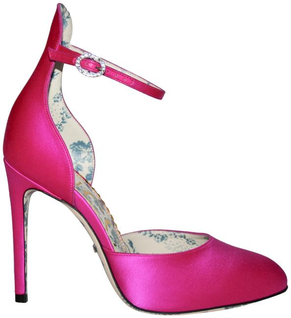 Item - Pink Satin Silk Crystal Buckle Pumps Size US 5.5 Regular (M, B)