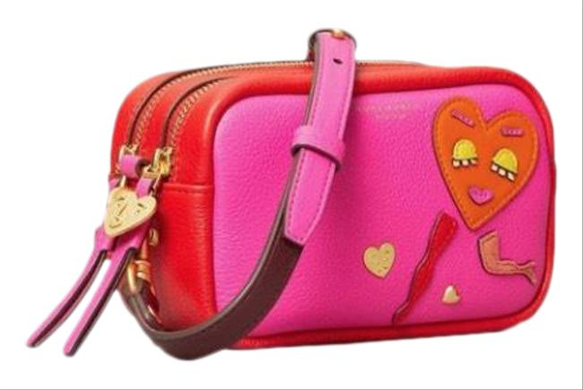 Item - Camera Perry Mini Patchwork Hearts Red/Pink Leather Cross Body Bag