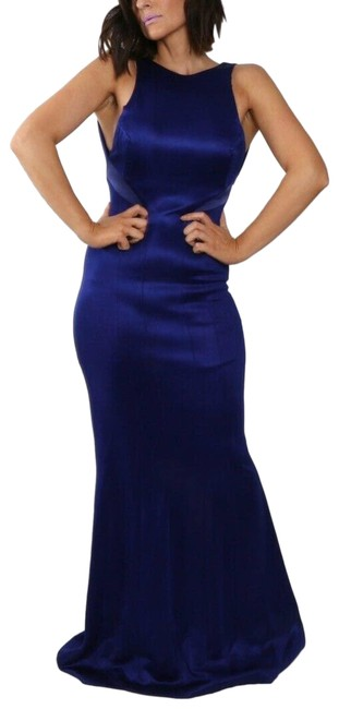 Item - Blue Jersey Sleeveless Panelled Gown Formal Dress Size 4 (S)