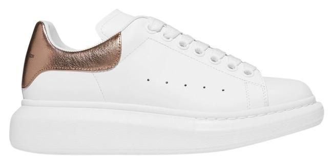 Item - White Gold Metallic-trimmed Leather Exaggerated-sole Sneakers Size EU 38 (Approx. US 8) Regular (M, B)