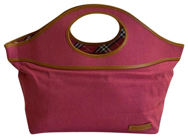 Item - Nova Check Handbag Pink Canvas & Leather Tote