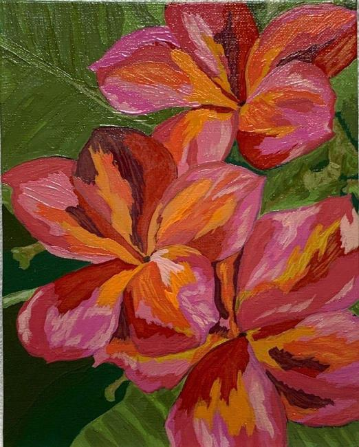 """Item - Red Tropical Plumeria Floral Art Painting 8"""" X 10"""" Decoration"""