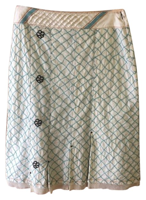 Item - Cream Blue Made In Usa Lattice Embroidered Women's Skirt Size 8 (M, 29, 30)