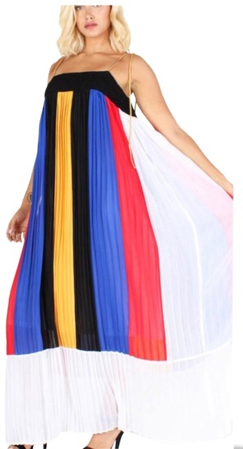 Item - Black White Yellow Red & Cobalt Maxi Long Night Out Dress Size 14 (L)