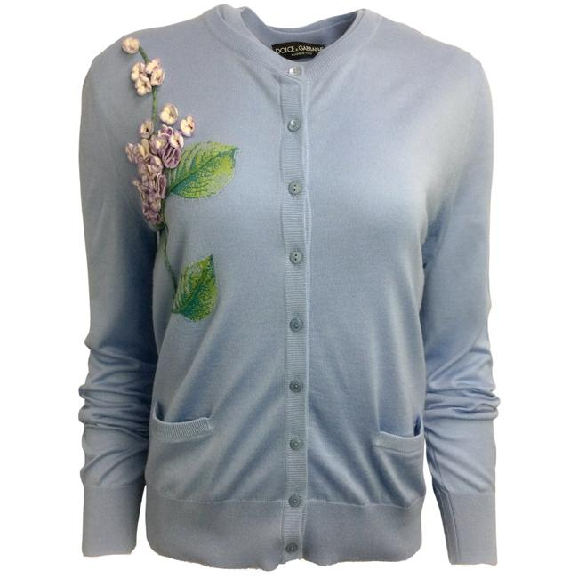 Item - Light Blue Embroidered Cashmere & Silk Cardigan Size 16 (XL, Plus 0x)