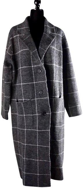 Item - Grey L Solenne Windowpane Maxi Sweater Coat Size 14 (L)