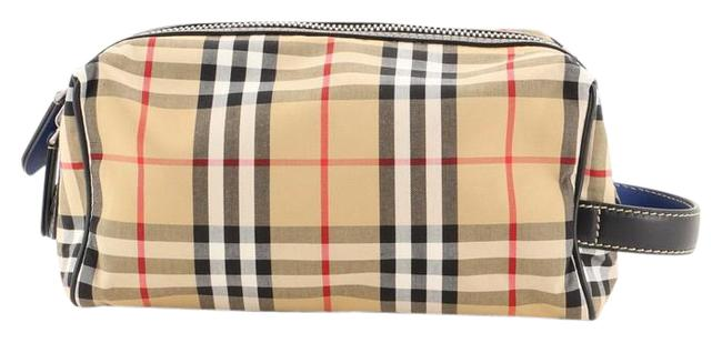 Item - Brown Print Pouch Vintage Check Canvas Cosmetic Bag