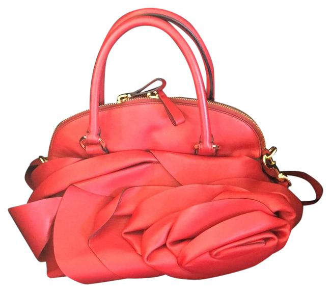 Item - Red with Gold Hardware and Black Stitching Lambskin Leather Satchel