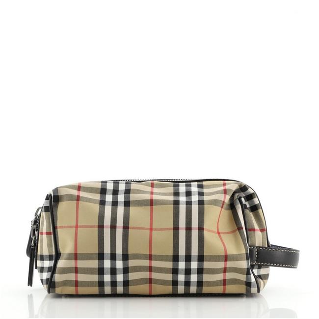 Item - Brown Pouch Vintage Check Canvas Cosmetic Bag
