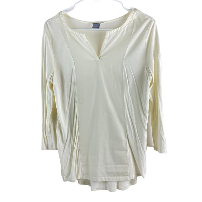 Item - Cream Womens 1/4 Sleeve Small Blouse Size 6 (S)
