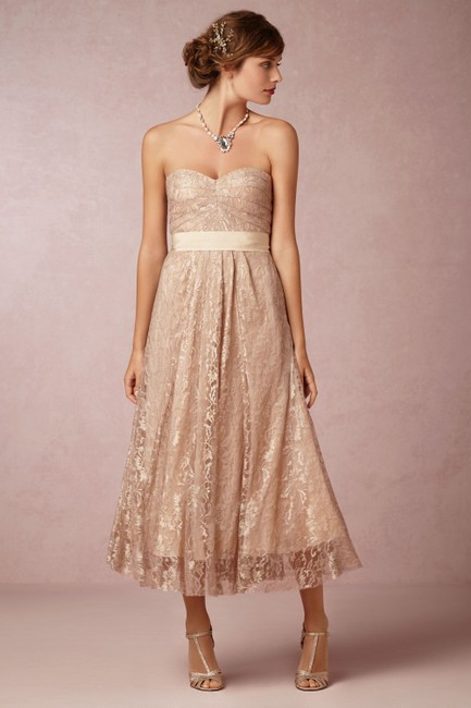 Item - Champagne Lace Bianca Bhldn Anthropologie Retro Bridesmaid/Mob Dress Size 4 (S)