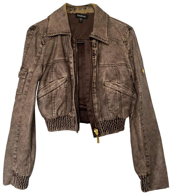 Item - Brown Tan Gold Faux Cropped Jacket Size 4 (S)