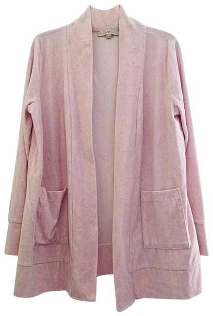 Item - Pink Velour Open Sweater Large Cardigan Size 12 (L)