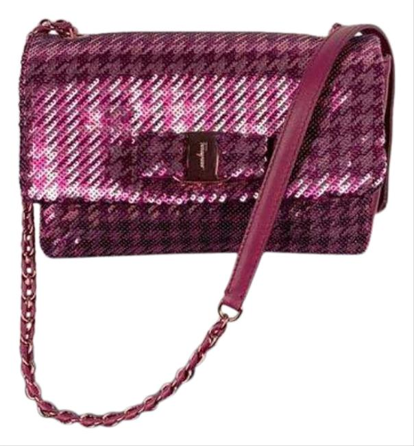 Item - Houndstooth Pink Leather Cross Body Bag