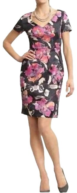 Item - Gray Watercolor Floral Print Sheath Work/Office Dress Size 6 (S)