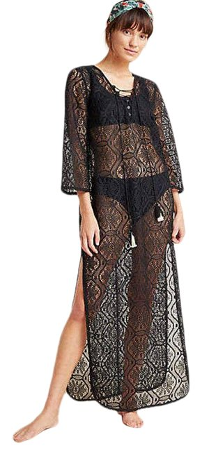 Item - Black New Riley Sheer Lace Caftan Cover-up/Sarong Size 6 (S)