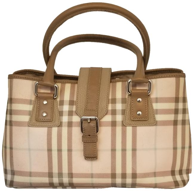Item - Candy Check Buckle Pink Tan Nylon and Leather Satchel