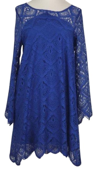 Item - Royal Blue Lace Swing Long Bell Sleeve Short Night Out Dress Size 8 (M)