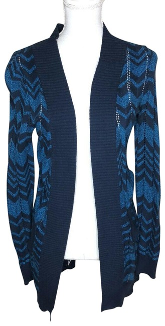 Item - Blue Womens Cardigan Textured Long Sweater Jacket Size 4 (S)
