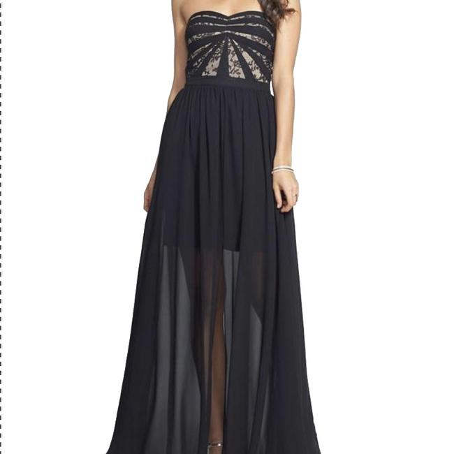 Item - Black Strapless and Nude Lace & Chiffon Long Formal Dress Size 10 (M)