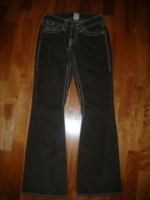 True Religion Joey Big T Tr Cords Corduroy Flare Flap Pocket Designer Jeans Low Rise Boot Cut Pants Brown