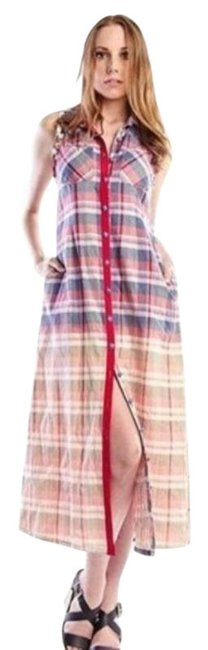 Item - Red Blue Whispering Willow Plaid Duster Long Casual Maxi Dress Size 12 (L)