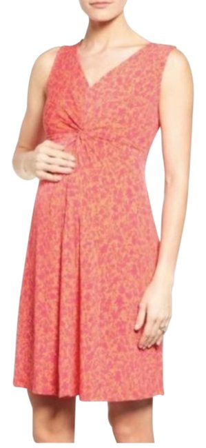 Item - Pink Orange Maternity Floral Ruched Short Casual Dress Size 0 (XS)