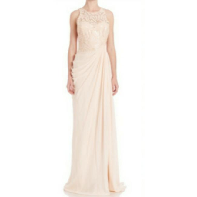 Badgley Mischka Pink Draped Sequin Lace Gown In Blush Long Casual Maxi Dress Size 10 (M) Badgley Mischka Pink Draped Sequin Lace Gown In Blush Long Casual Maxi Dress Size 10 (M) Image 1