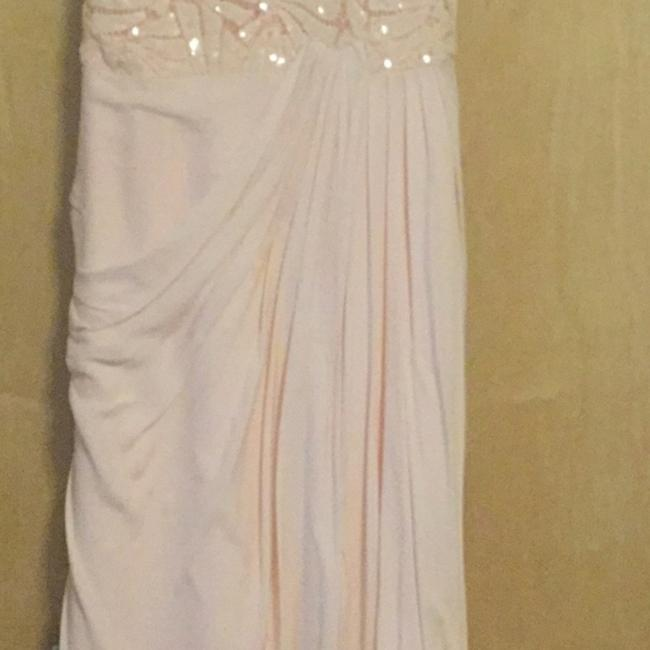 Badgley Mischka Pink Draped Sequin Lace Gown In Blush Long Casual Maxi Dress Size 10 (M) Badgley Mischka Pink Draped Sequin Lace Gown In Blush Long Casual Maxi Dress Size 10 (M) Image 3