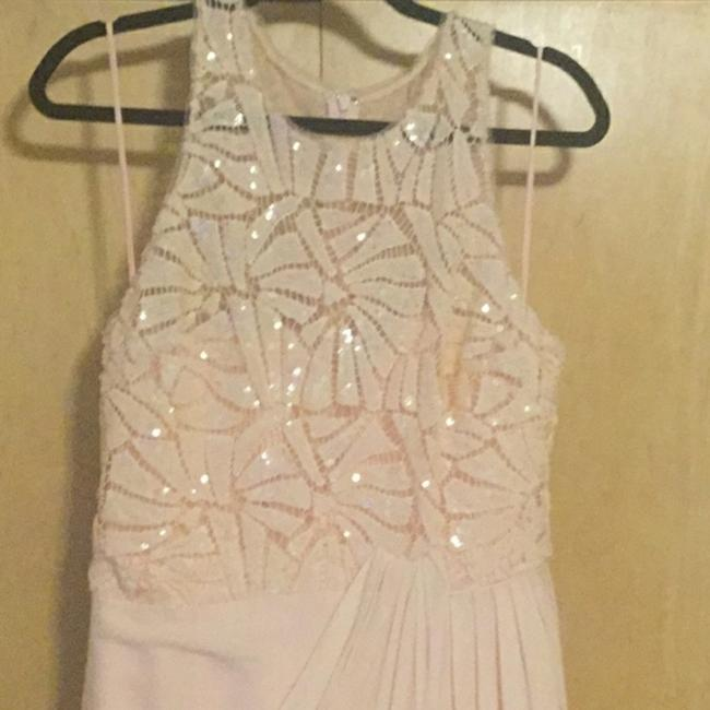 Badgley Mischka Pink Draped Sequin Lace Gown In Blush Long Casual Maxi Dress Size 10 (M) Badgley Mischka Pink Draped Sequin Lace Gown In Blush Long Casual Maxi Dress Size 10 (M) Image 4