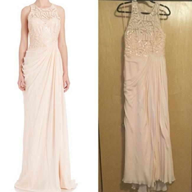 Badgley Mischka Pink Draped Sequin Lace Gown In Blush Long Casual Maxi Dress Size 10 (M) Badgley Mischka Pink Draped Sequin Lace Gown In Blush Long Casual Maxi Dress Size 10 (M) Image 5