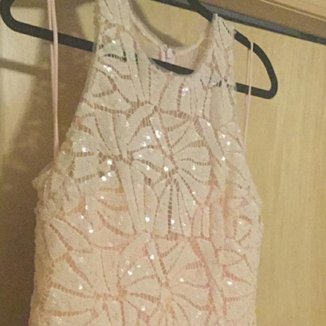 Badgley Mischka Pink Draped Sequin Lace Gown In Blush Long Casual Maxi Dress Size 10 (M) Badgley Mischka Pink Draped Sequin Lace Gown In Blush Long Casual Maxi Dress Size 10 (M) Image 6