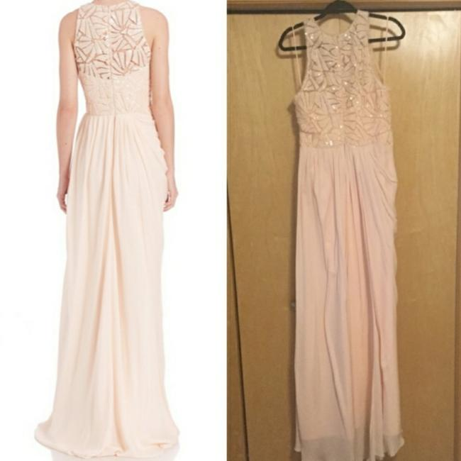 Badgley Mischka Pink Draped Sequin Lace Gown In Blush Long Casual Maxi Dress Size 10 (M) Badgley Mischka Pink Draped Sequin Lace Gown In Blush Long Casual Maxi Dress Size 10 (M) Image 8
