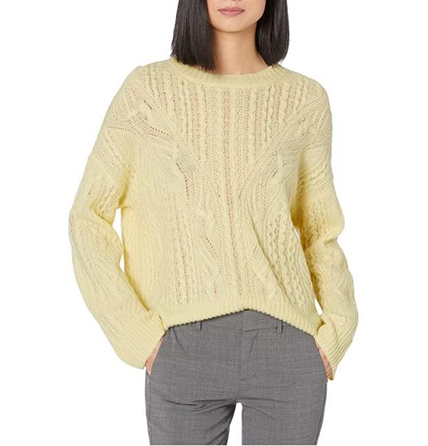 Item - Open Cable Knit Wool Cashmere Blend Sun Creme Sweater