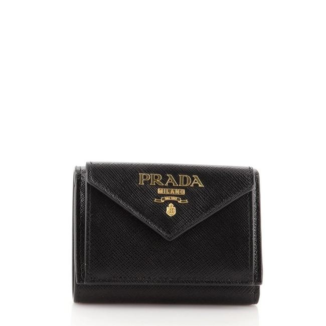 Item - Black Trifold Flap Saffiano Leather Compact Wallet