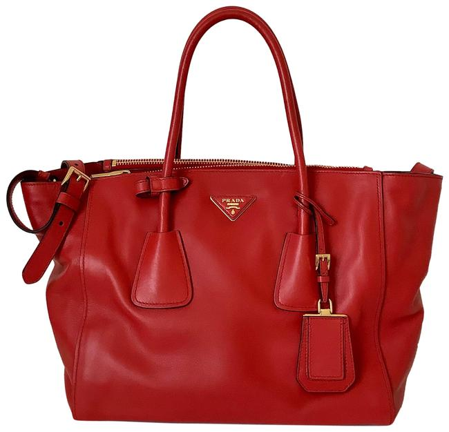 Item - Double Handle Red with Gold Tone Trim Smooth Supple Leather Satchel