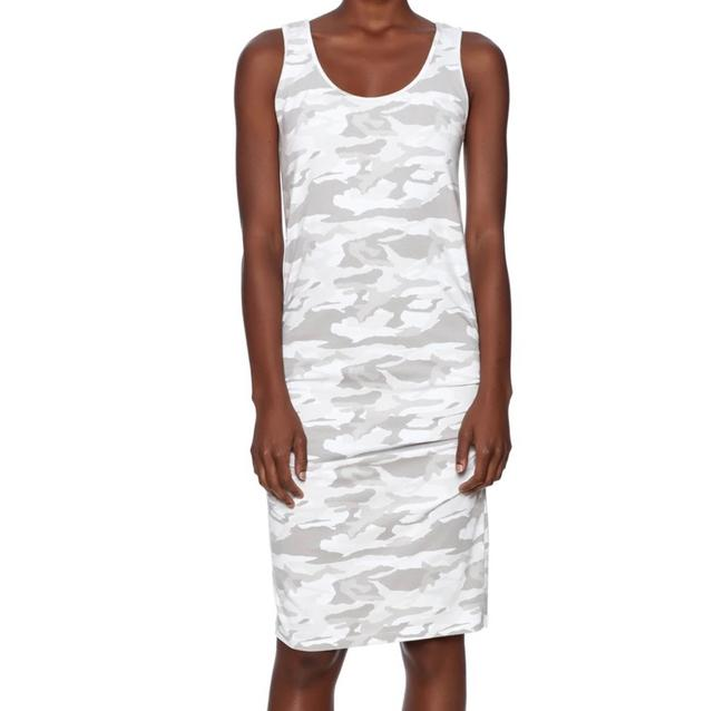 Item - White and Grey Hd00851 Mid-length Short Casual Dress Size 12 (L)