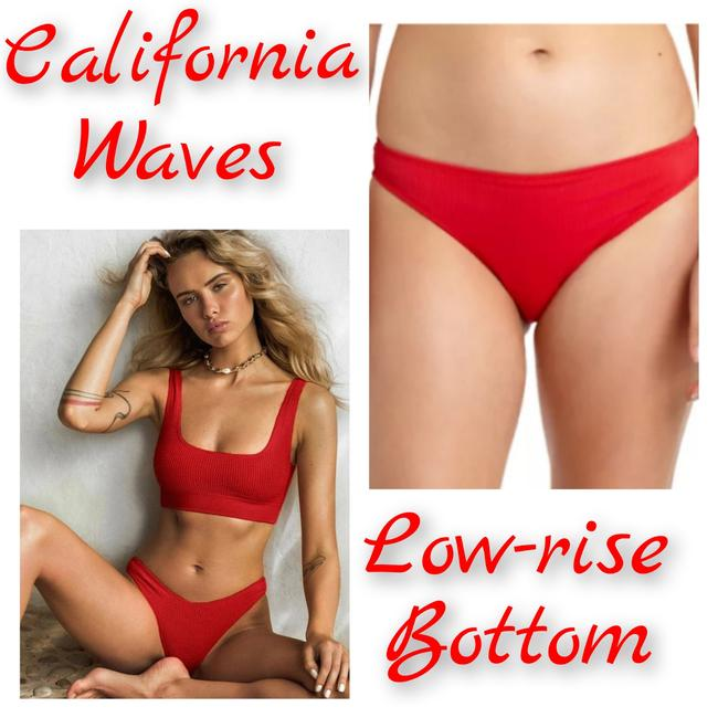 California Waves Candy Red Ribbed Hipster Bikini Bottom Size 0 (XS) California Waves Candy Red Ribbed Hipster Bikini Bottom Size 0 (XS) Image 1