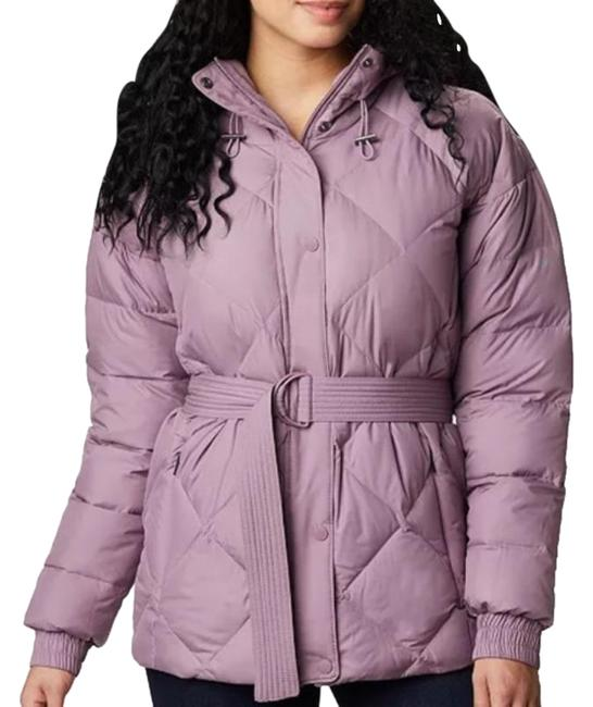 Columbia Sportswear Company Pink Down Belted Hooded Puffer Coat Size 4 (S) Columbia Sportswear Company Pink Down Belted Hooded Puffer Coat Size 4 (S) Image 1