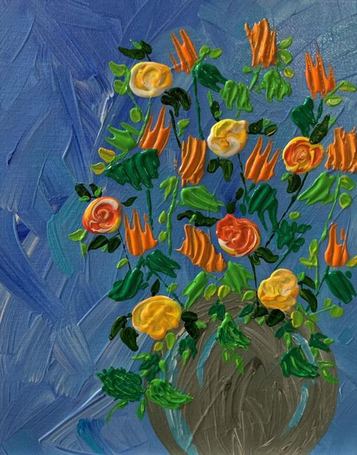 """Item - Blue Sunny Flowers In A Vase Abstract Floral Painting 8"""" X 10"""" Decoration"""