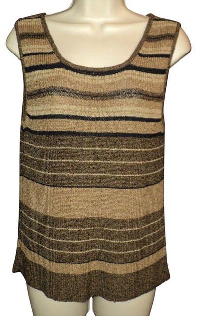 Item - Shades Of Brown Knit Shell Stripes Rounded Neckline Stretchy Tank Top/Cami Size Petite 12 (L)