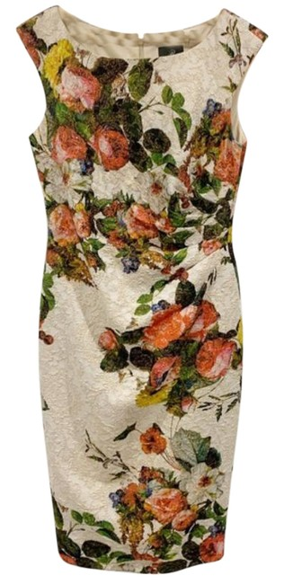 Item - Cream Green Floral Roses Mid-length Cocktail Dress Size 4 (S)