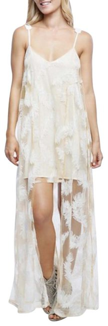 Item - Cream Revolve's Feather Sheer Overlay Maxi Long Cocktail Dress Size 2 (XS)